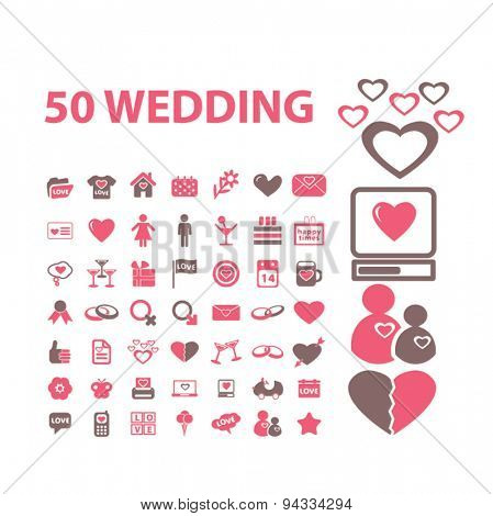 50 wedding, relations, couple, love isolated icons, signs, illustrations for web, internet, mobile application, vector