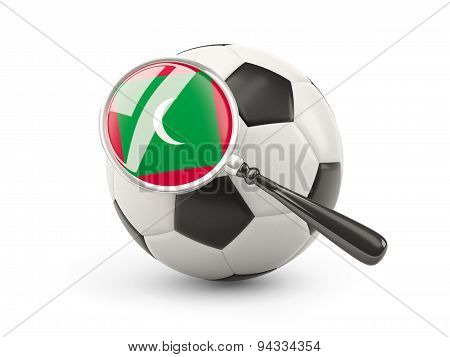 Football With Magnified Flag Of Maldives