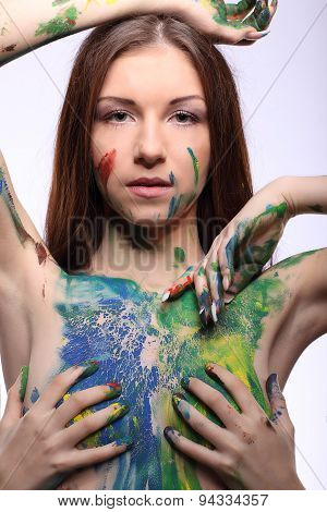 Art Project: Lesbian Beautiful Woman Painted With Many Vivid Colors