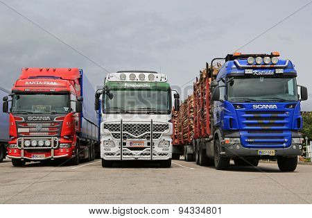 Scania and Mercedes-Benz Actros Trucks Parked