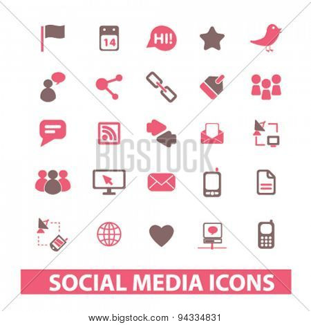 social media, networks, community, blog isolated icons, signs, illustrations for web, internet, mobile application, vector