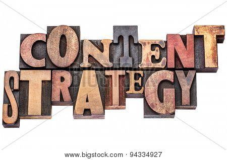 content strategy typography word abstract - isolated text in mixed letterpress wood type printing blocks