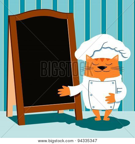 Cat chef in retro cartoon style shows a wooden menu board