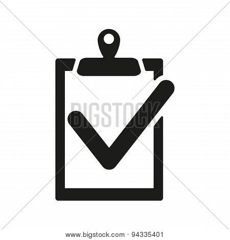 The Clipboard Icon. Checklist Symbol. Flat