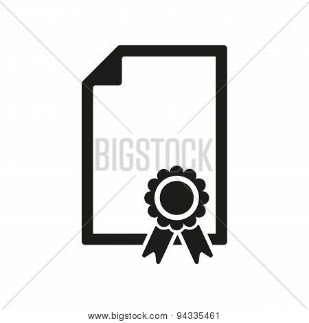 The Certificate Icon. Diploma Symbol. Flat