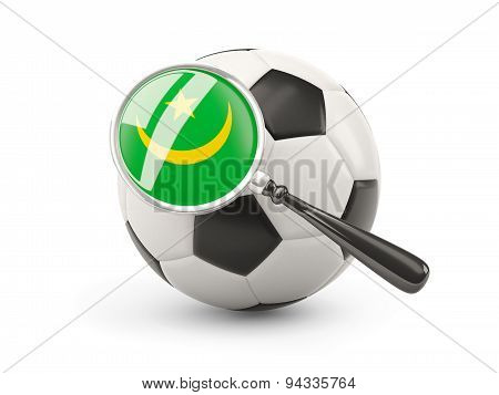 Football With Magnified Flag Of Mauritania