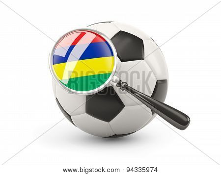 Football With Magnified Flag Of Mauritius