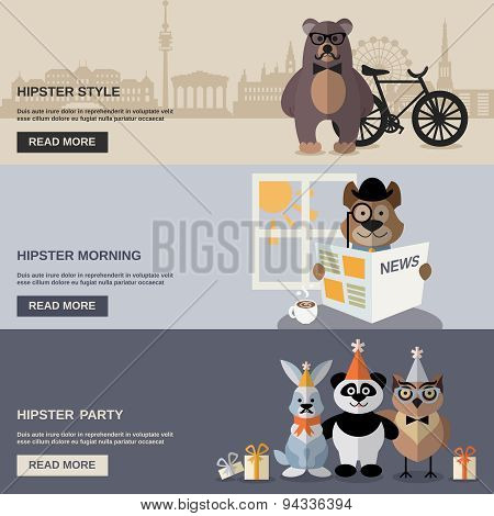Animal Hipster Banner Set