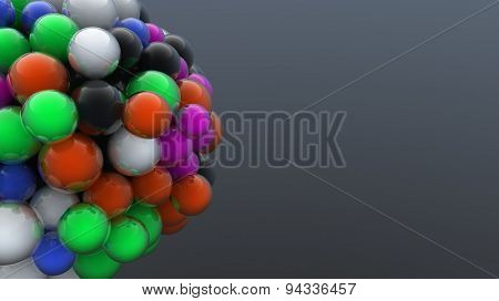 Abstract digitally generated cluster of multicolored bubbles floating on dark grey background