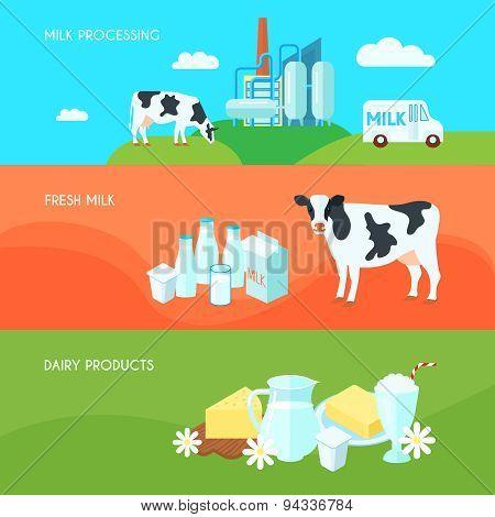 Milk flat banners set