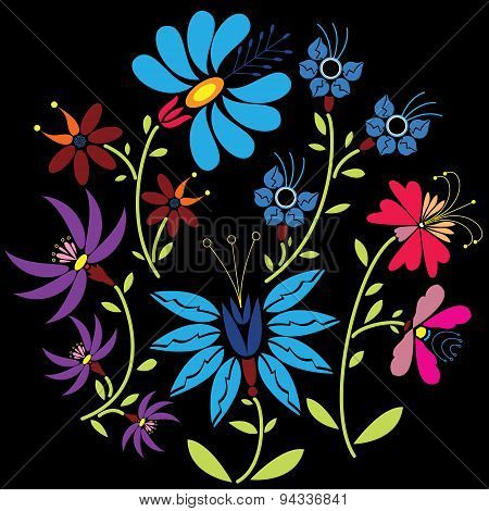 Color Folk Floral Pattern In Circle On Black  Background