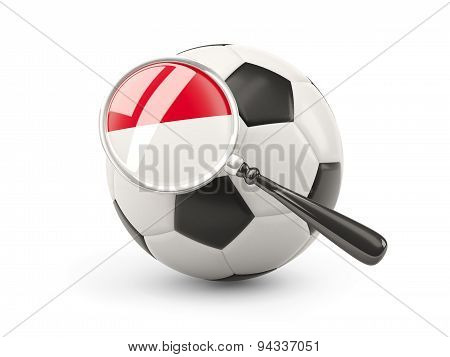 Football With Magnified Flag Of Monaco