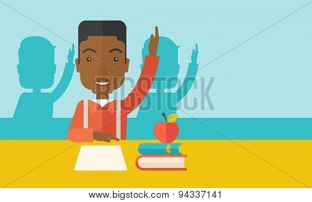 A young black student raising his hand with a smile. A Contemporary style with pastel palette, soft green tinted background. Vector flat design illustration. Horizontal layout with text space in right