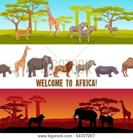Horizontal African animals banners set