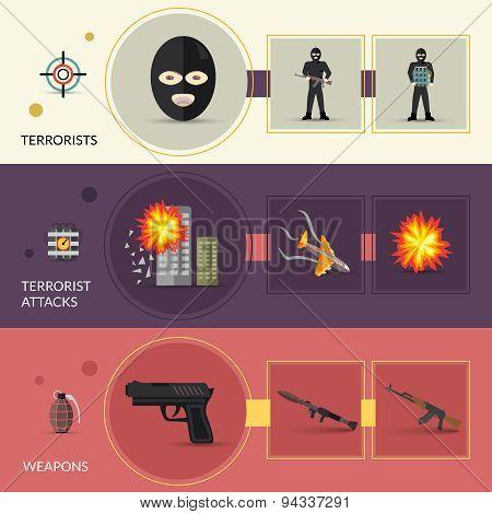 Terrorism Banners Set
