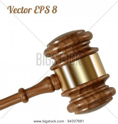 A wooden judge gavel, vector illustration EPS 8.
