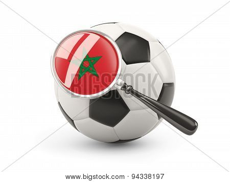 Football With Magnified Flag Of Morocco