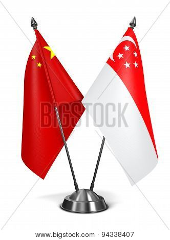 China and Singapore - Miniature Flags.