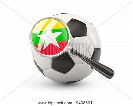 Football With Magnified Flag Of Myanmar