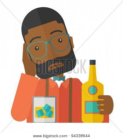 An african sad man is having a problem drinking beer in the bar. Depressed concept. A Contemporary style. Vector flat design illustration isolated white background. Square layout.