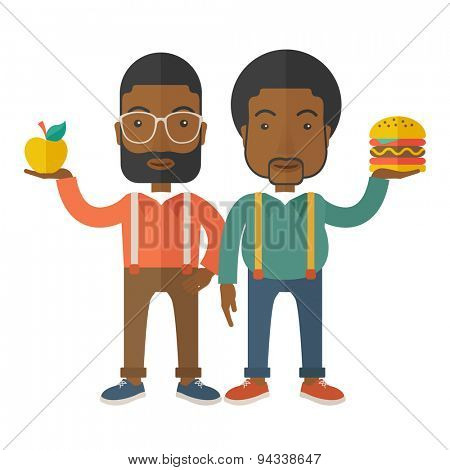A two black businessmen standing and comparing Apple to hamburger of which is healthy food. A Contemporary style with pastel palette, soft beige tinted background. Vector flat design illustration