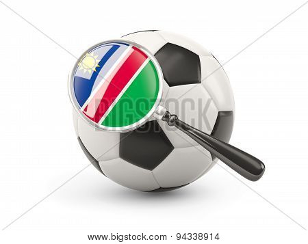 Football With Magnified Flag Of Namibia