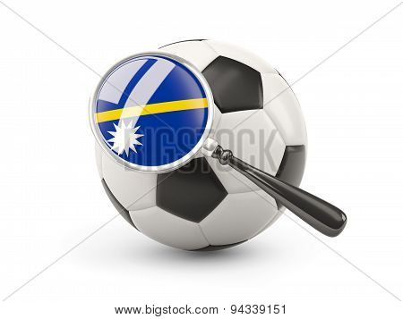 Football With Magnified Flag Of Nauru