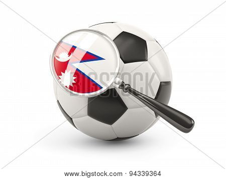 Football With Magnified Flag Of Nepal