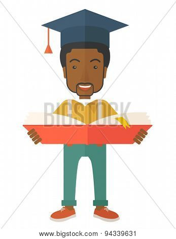 A black man standing and reading  a book, wearing graduation cap, representing to be graduated in studying or finished school or university. A Contemporary style. Vector flat design illustration