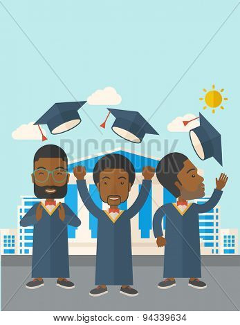 Smiling three men throwing graduation cap in the air. A Contemporary style with pastel palette, soft blue tinted background with desaturated clouds. Vector flat design illustration. Vertical layout