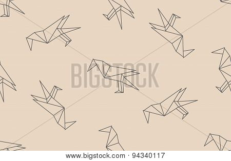 Vector Seamless Pattern With Japanese Origami Black Linear Raven Birds.