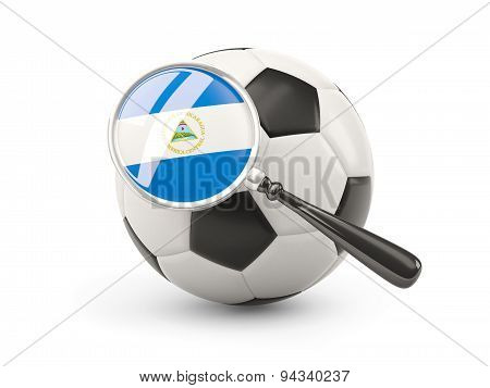 Football With Magnified Flag Of Nicaragua
