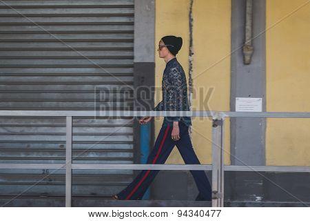 Model At Gucci Fashion Show Building For Milan Men's Fashion Week