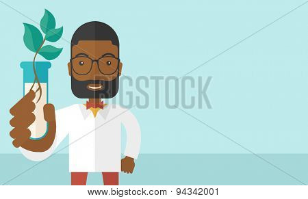 A black guy chemist holding a test tube with eco leaves. A Contemporary style with pastel palette, soft blue tinted background. Vector flat design illustration. Horizontal layout with text space in