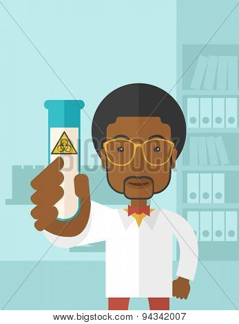 A young african-american scientists experimenting with glass tube inside the laboratory. A Contemporary style with pastel palette, soft blue tinted background. Vector flat design illustration