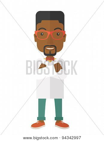 A Young handsome african male medicine doctor assistant standing in white lab coat with cross arms. A Contemporary style. Vector flat design illustration isolated white background. Vertical layout