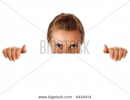 modern business woman holding  blank billboard