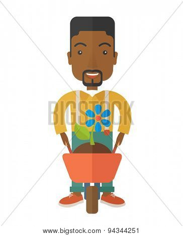 A black man pushing a wheelbarrow carries a plant with flower. A Contemporary style. Vector flat design illustration isolated white background. Vertical layout.