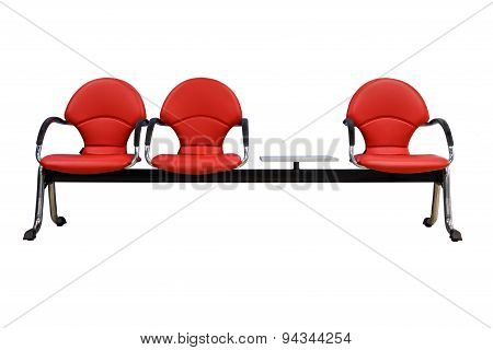 Isolated Red Modern Seats On White