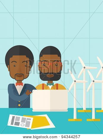 Two black workers using laptop with windmills as power generator. A Contemporary style with pastel palette, soft blue tinted background. Vector flat design illustration. Vertical layout with text