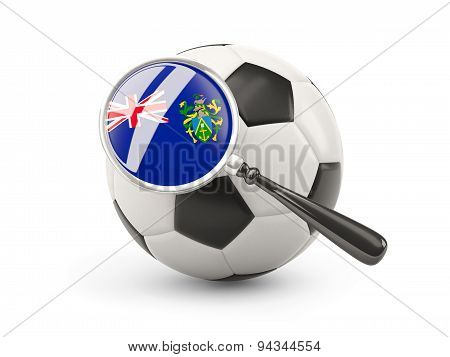 Football With Magnified Flag Of Pitcairn Islands