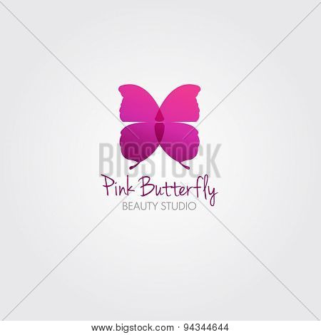 Butterfly. Vector design concept for beauty salon or studio. Vector logo template.