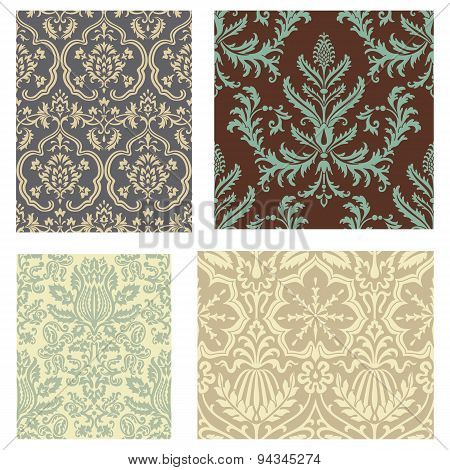 Damask Wallpaper Pattern Set
