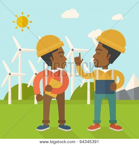 Two black workers wearing hard hat talking in front of windmills under the sun. A Contemporary style with pastel palette, soft blue tinted background with desaturated clouds. Vector flat design