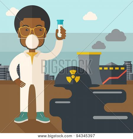 An african scientist with mask and holding a test tube doing a research. A Contemporary style with pastel palette, soft blue tinted background with desaturated clouds. Vector flat design illustration