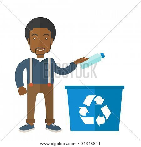 A black guy throwing plastic container into blue can with recycle symbol. A Contemporary style. Vector flat design illustration isolated white background. Square layout.