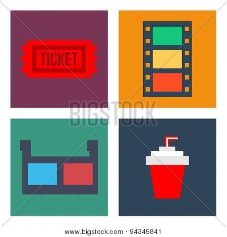 Movie Cinema Icons Flat style
