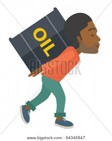 A black businessman walking while carrying a heavy barrel of oil for delivery. A Contemporary style. Vector flat design illustration isolated white background. Vertical layout.