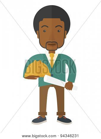 A happy black young construction worker holding hard hat and blueprint plan. A Contemporary style. Vector flat design illustration isolated white background. Vertical layout.