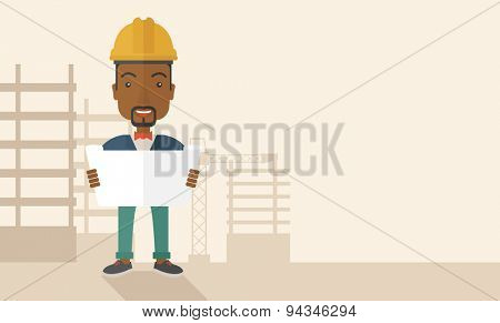 A young african-american engineer holding while reviewing the construction plan. A Contemporary style with pastel palette, soft beige tinted background. Vector flat design illustration. Horizontal